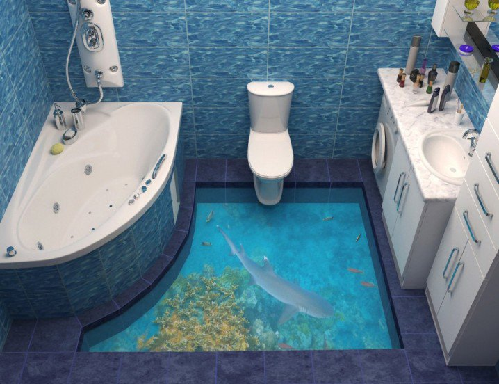 Látványos 3D-s fürdőszoba padlók - Csirip.hu